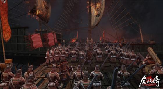 《虎豹骑》中,制作组根据地形地貌制作了大量的地图场景。例如荒凉的边塞,黄沙漫天的渭南,漫天飞雪的界桥、官渡,绿意盎然的扬州、遍布火船的赤壁,大雨倾盆的樊城,异域特色的南中。