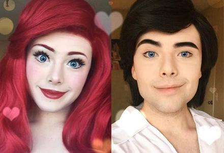 男生也可以当迪士尼公主?看看这毫无违和感的化妆你就会相信了
