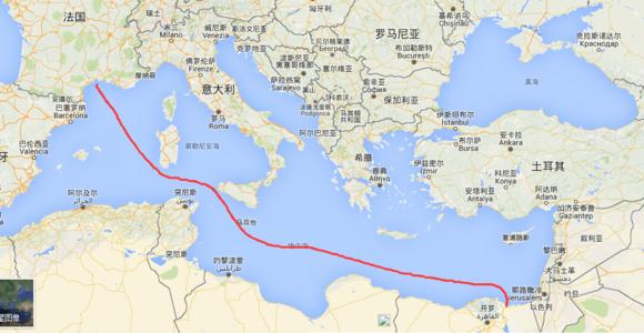 第一阶段,法国蒙彼利埃到埃及北部塞得港,横穿地中海.总计3071公里!图片