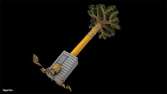 这是一个非常形象的环保作品,一棵大树变成一支铅笔而被卷笔刀慢慢的消耗掉。而我们生活也正在慢慢消耗地球的资源,影响着这个世界。 树木生长所需要的时间比砍伐树木的时间更久,一瞬间砍倒的大树需要几十年的生长,而现代生活每天都会用到各类的木制品,我们的生活能离开它们吗?