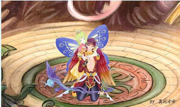 手绘羽神灵跟玄彩娥的爱情故事