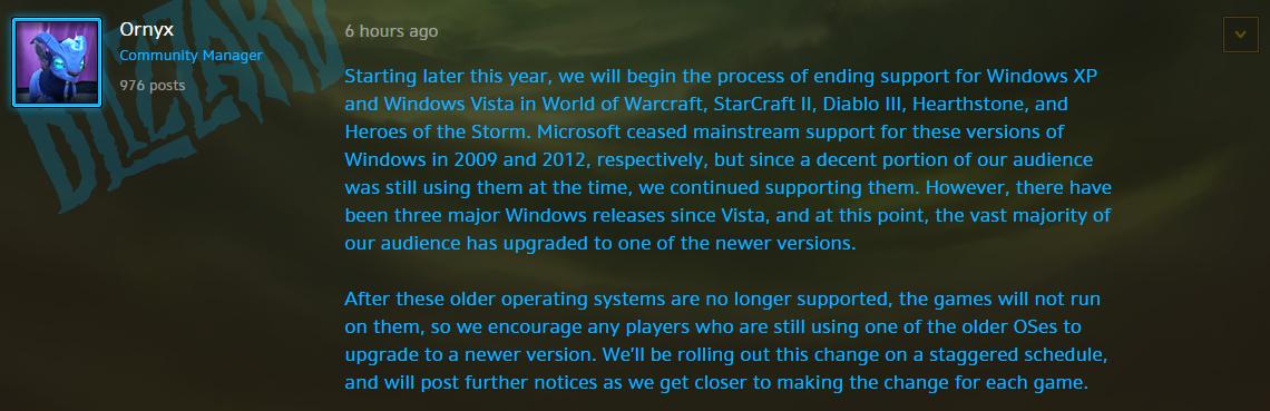 暴雪蓝帖:暴雪游戏将不再支持XP/Vista系统