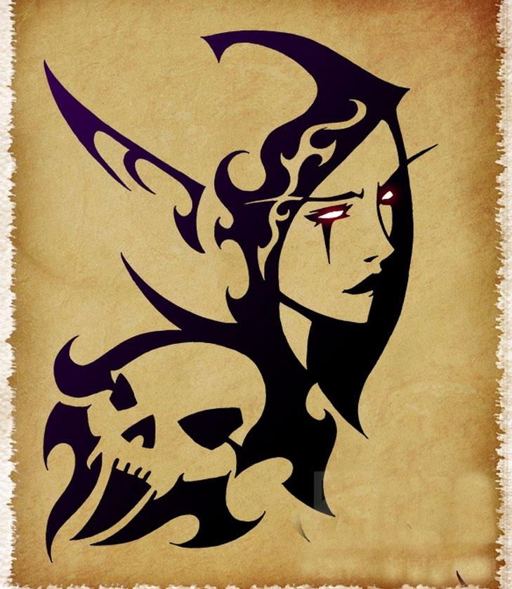 魔兽玩家画作:刺青风格作品 希尔瓦娜斯女王图片