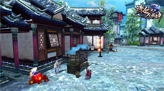 繁忙的河阳街道在白雪的衬托下更有生活气息
