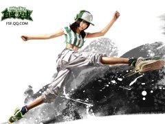 美女演绎《自由足球》壁纸